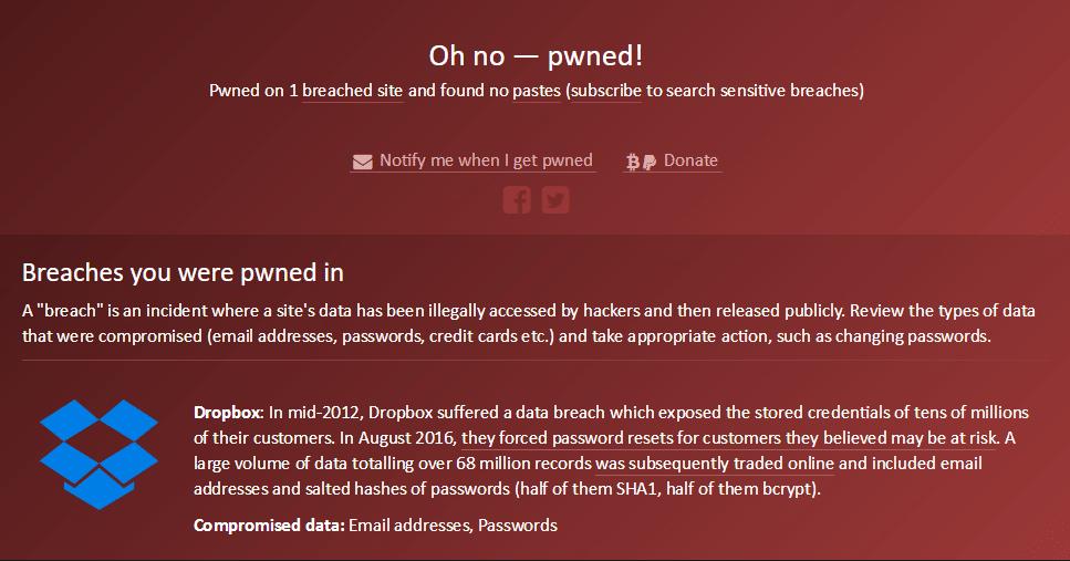 Haveibeenpwned.com connaitre cyberattaques sites répertoriés