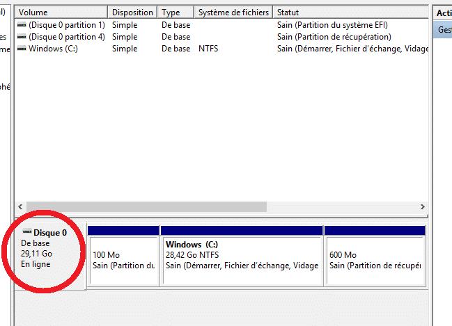 windows 10 espace libre