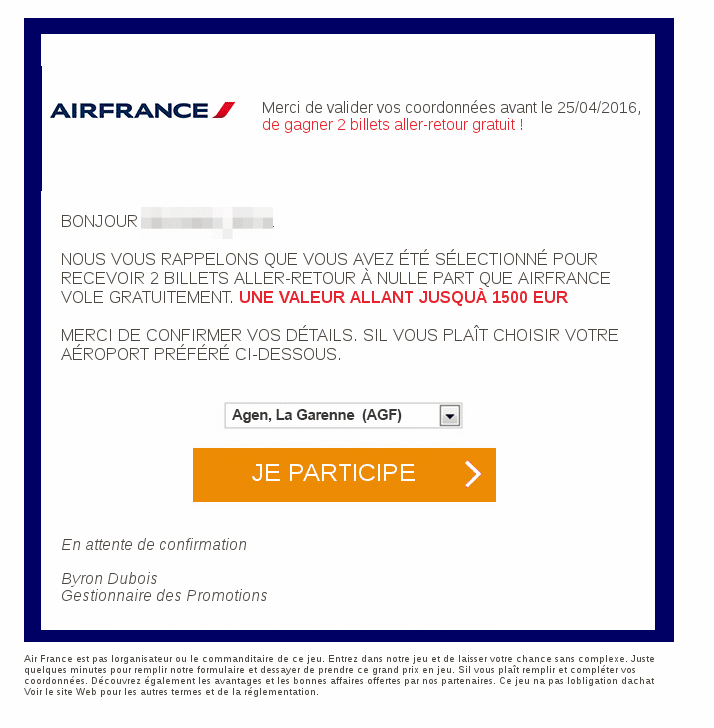arnaque facebook airfrance