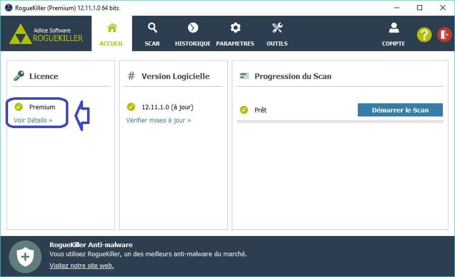 RogueKiller utilisation paramétrages premium