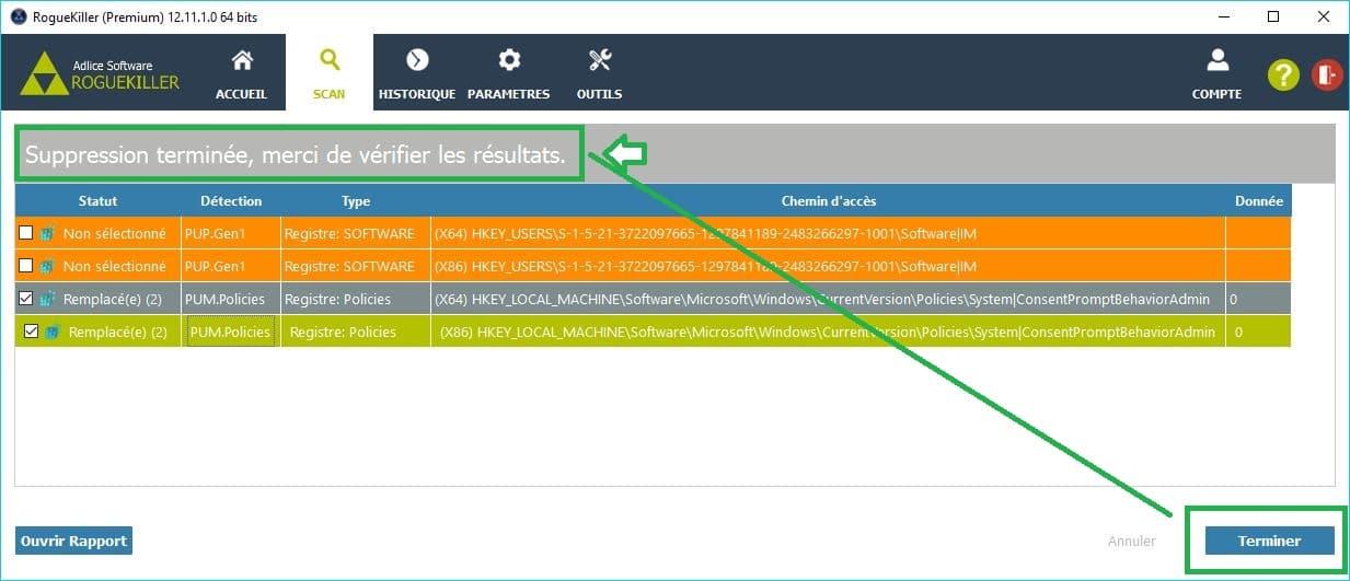 RogueKiller paramétrages premium désinfection suppression malwares