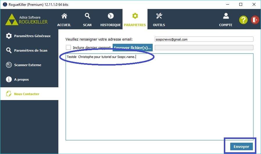 RogueKiller paramétrages premium contact