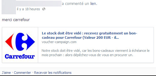 hoax facebook carrefour