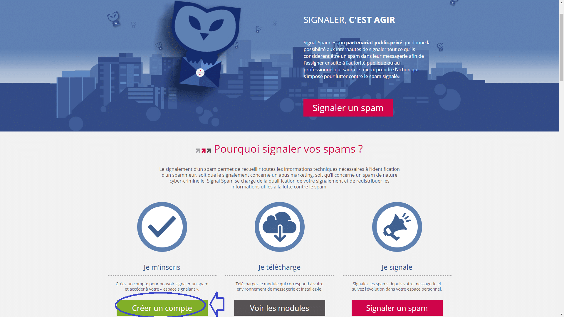 signal-spam page d'accueil