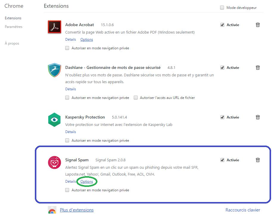 signal-spam extension chrome