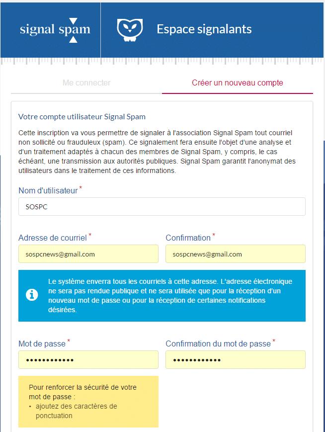 signal-spam inscription tutoriel