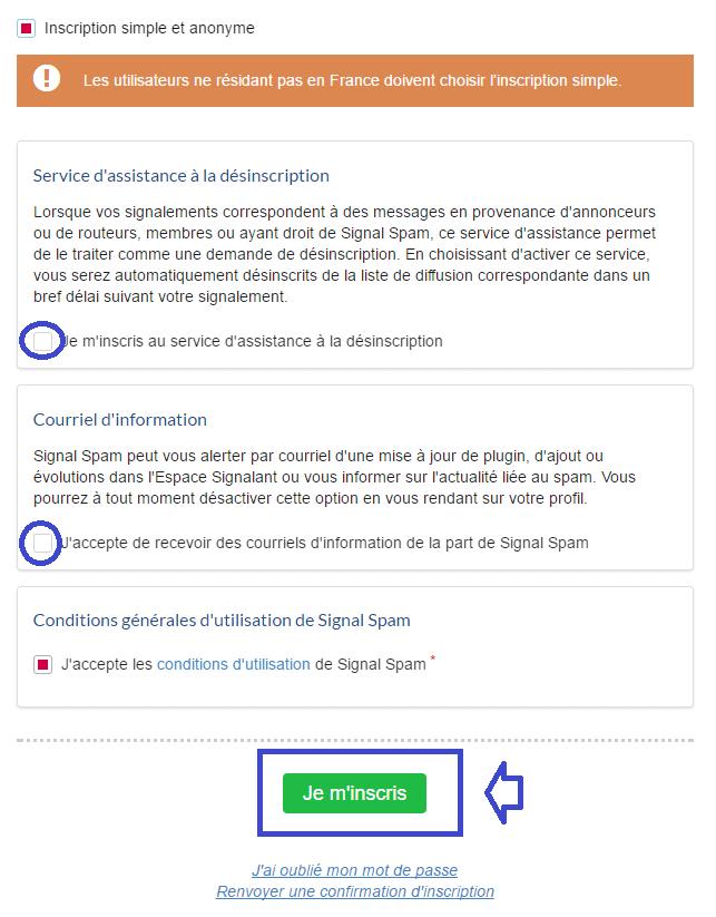 signal-spam option inscription