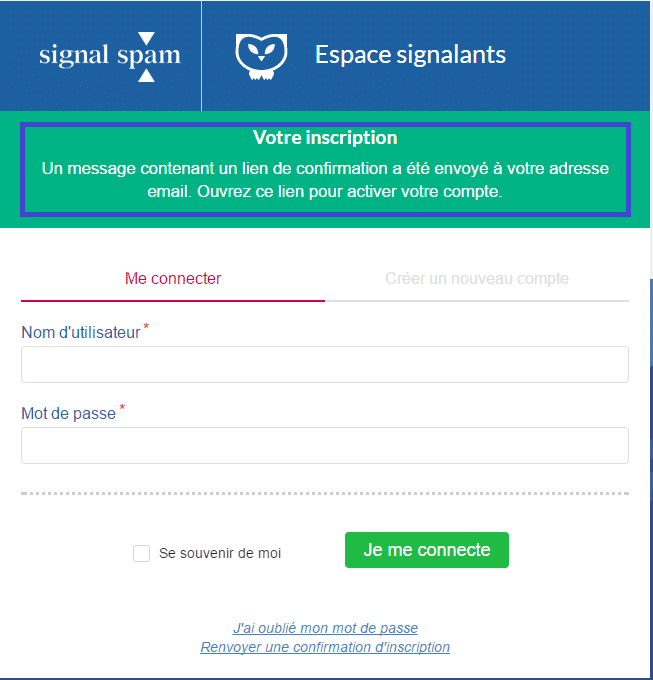 signal-spam mail confirmation