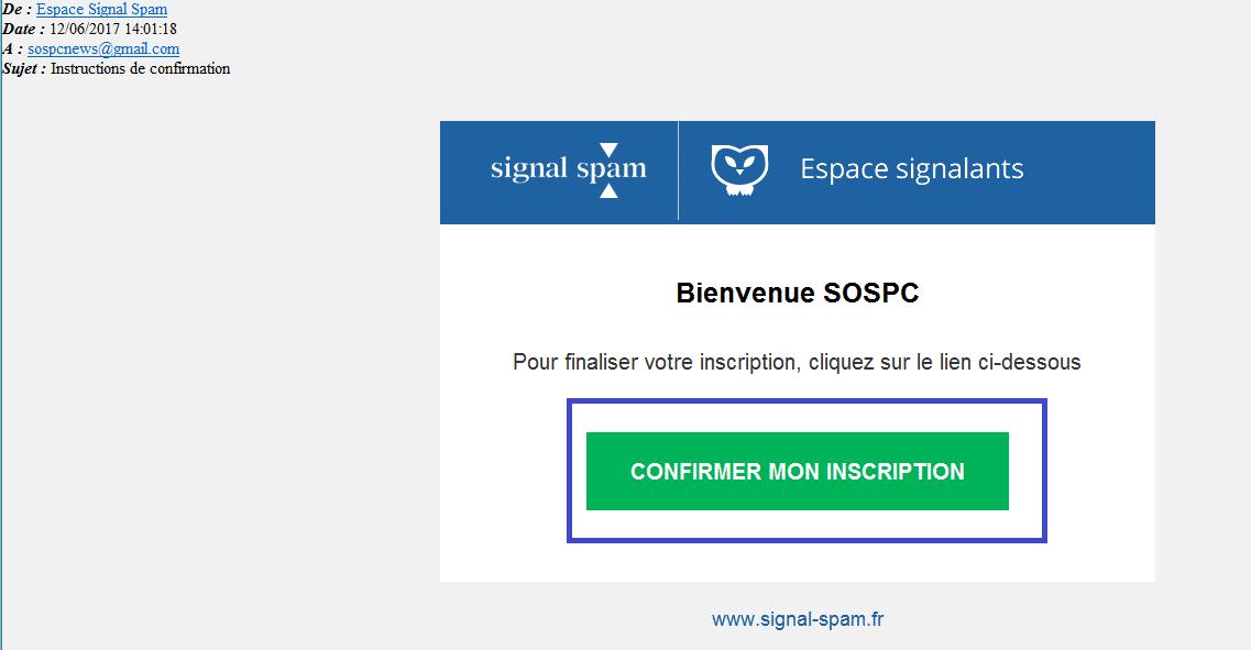 signal-spam confirmer inscription