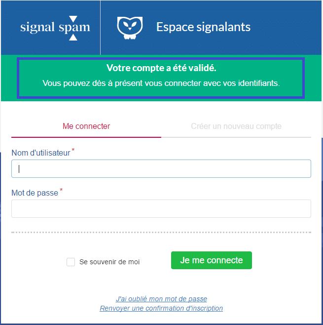 signal-spam compte validé