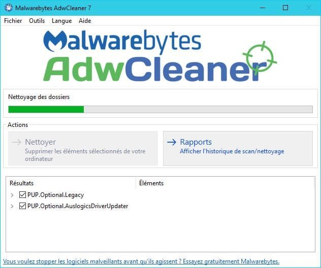 adwcleaner tutoriel analyse