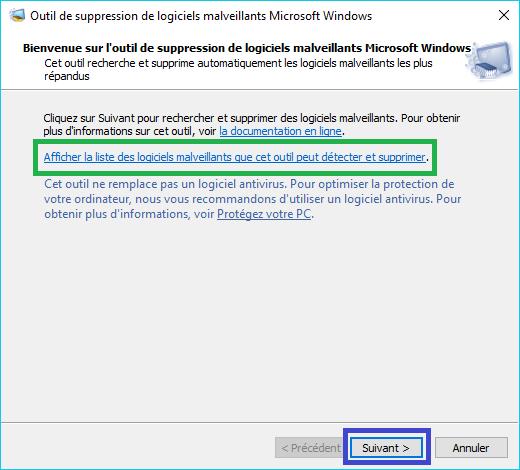 MSRT : outil de suppression de logiciels malveillants tutoriel 1