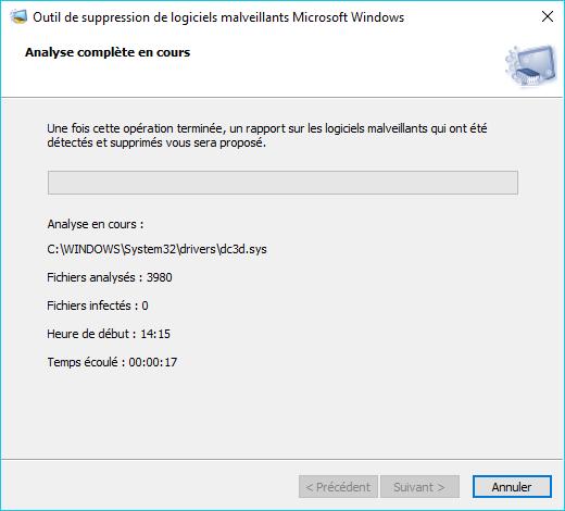 MSRT : outil de suppression de logiciels malveillants tutoriel 4