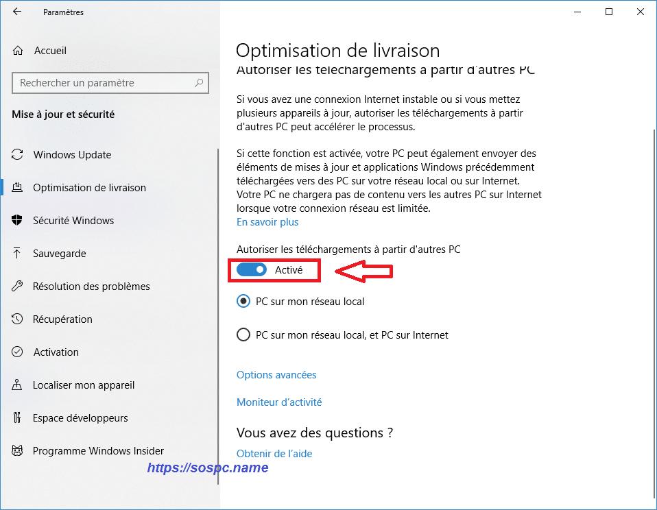 désactiver le service de partage des mises à jour de Windows Update image 1