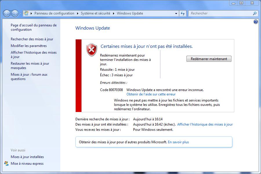 Windows Vista et 7 Windows Update ne fonctionne pas