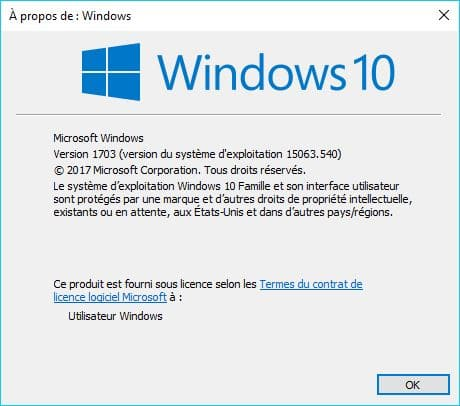 Windows 10 1703 /15063.540.