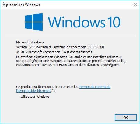 Windows 10 1703 /15063.540.