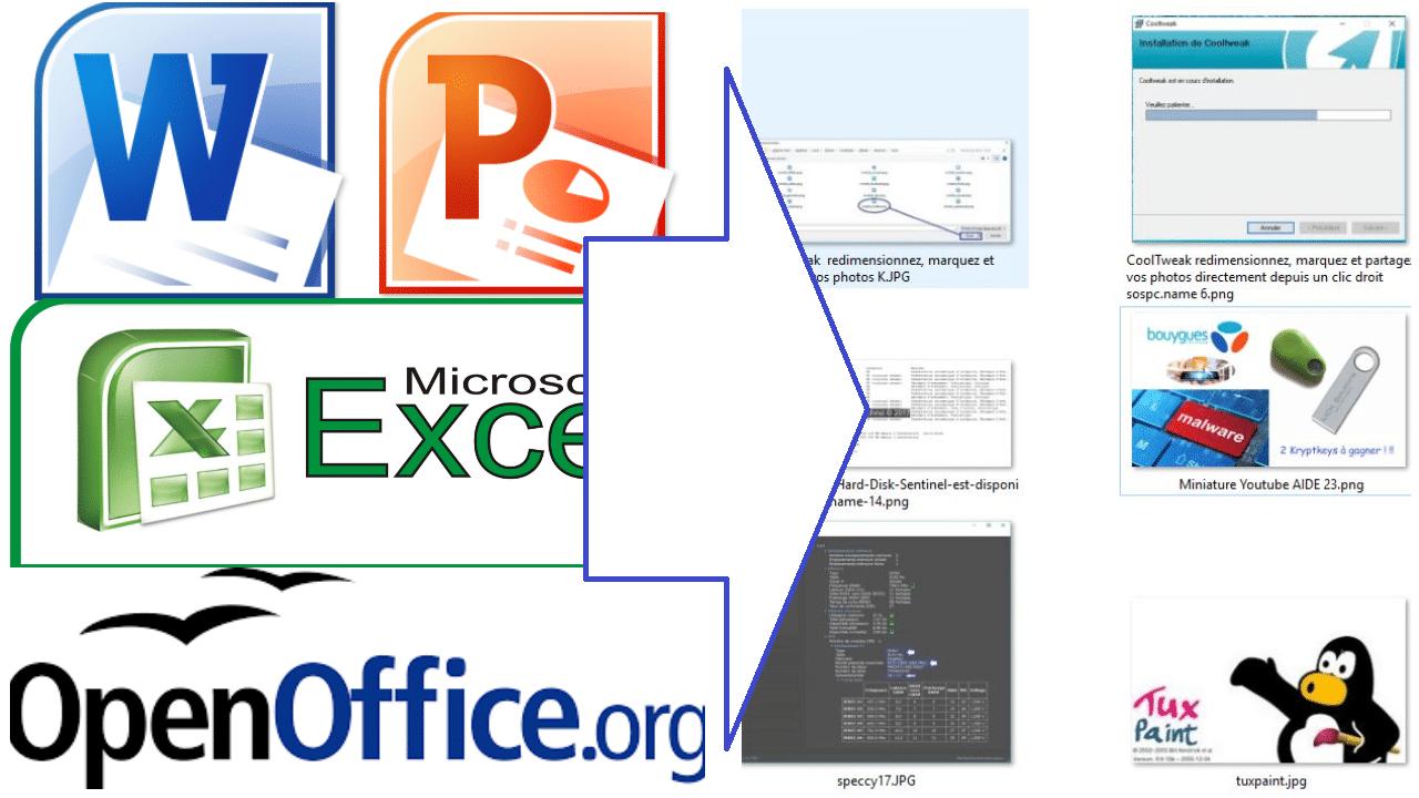 Exportez facilement toutes les images contenues dans vos fichiers Word, Excel, Powerpoint, OpenOffice ou LibreOffice.