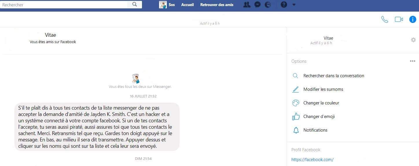 Messenger alerte Virus k.smith