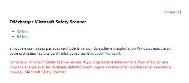 Microsoft Safety Scanner 32 ou 64 bits