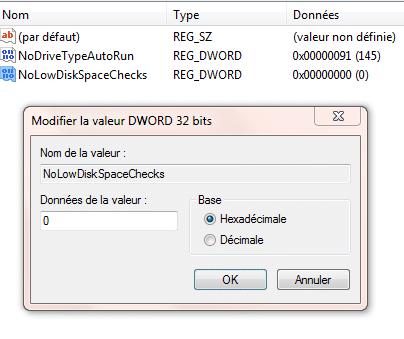 Windows 7 : désactiver les messages d'alerte d'espace disque faible tutoriel 5