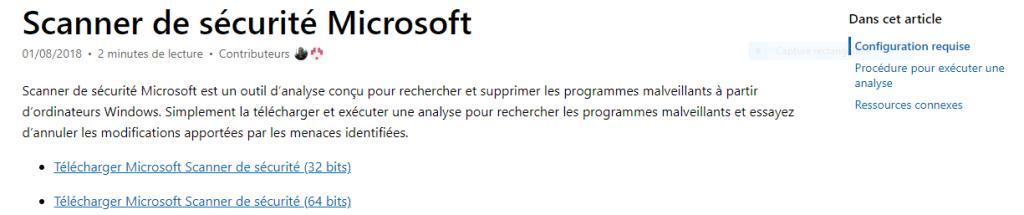 Scanner de sécurité Microsoft télécharger