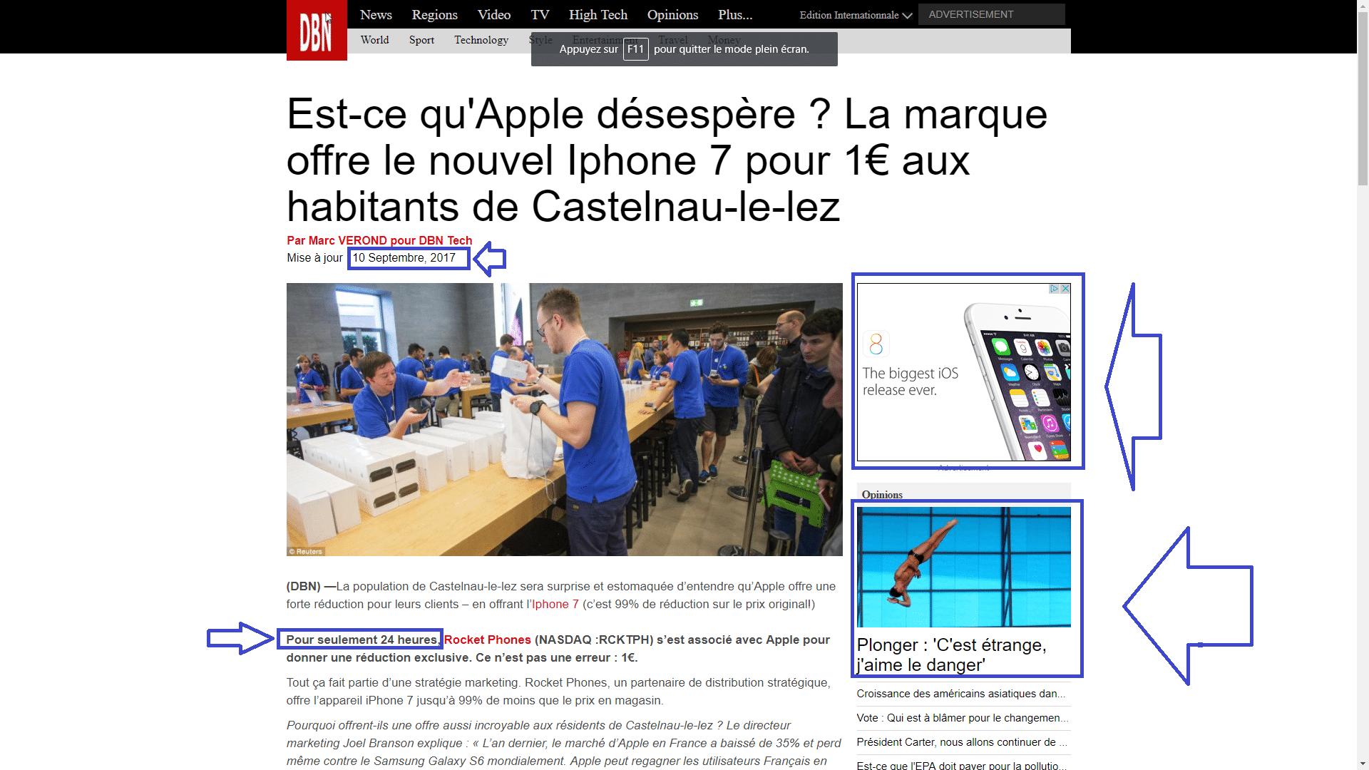 arnaque concernant iPhone 7 à 1€