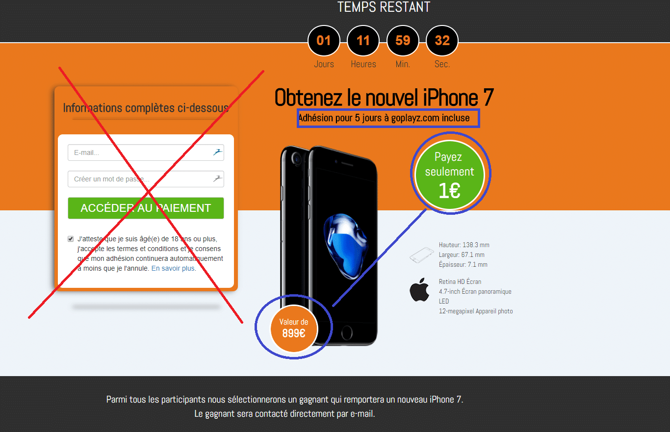 arnaque iPhone 7 à 1€