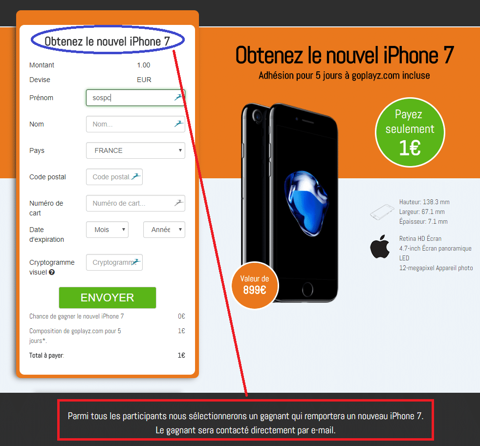 Attention à l'arnaque concernant iPhone 7 à 1€ sospc.name