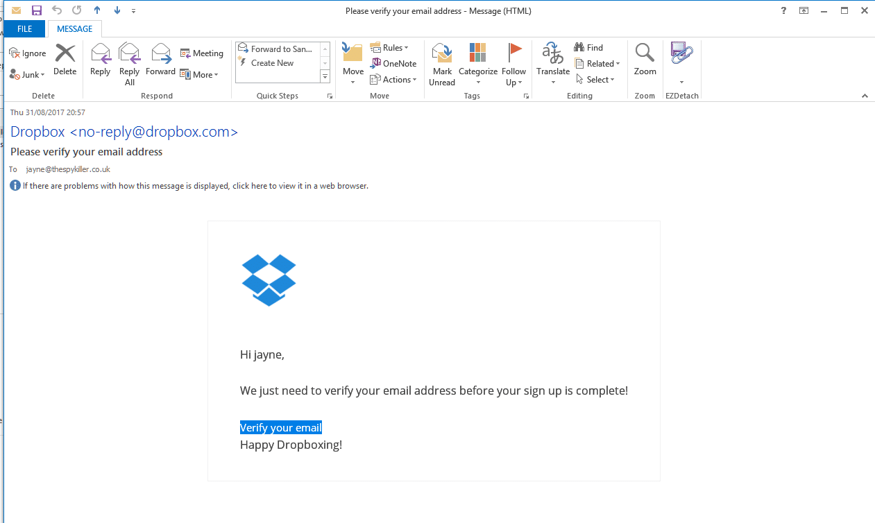 Attention aux faux mails de Dropbox 1