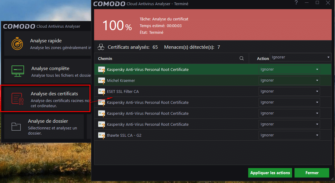 Comodo Cloud Antivirus tutoriel sospc 11