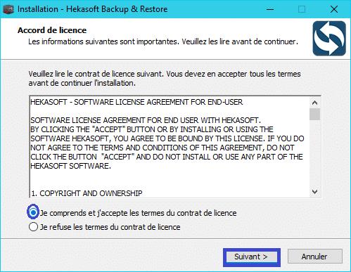 Hekasoft Backup & Restore installation 2