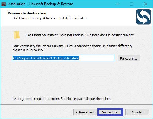 Hekasoft Backup & Restore installation 3