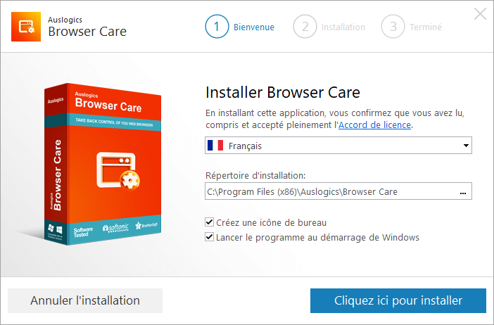Auslogics Browser Care 4 installation 1