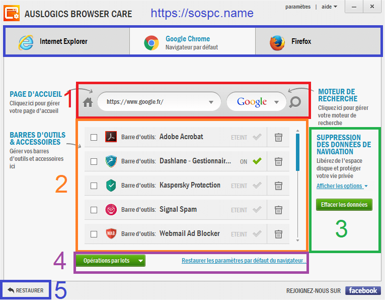 Auslogics Browser Care 4 utilisation 1