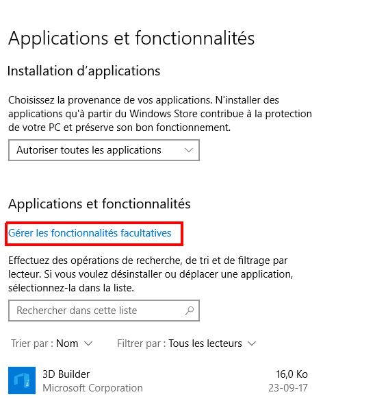 Tout savoir sur Windows 10, partie 2 : le paramétrage gérer les fonctionnalités