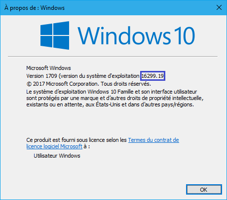 Windows 10 1709 (16299.19).