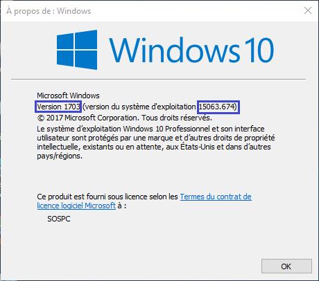 numéro de version windows