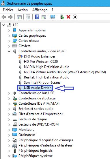 adaptateur USB Sortie Son gestionnaire de périphériques