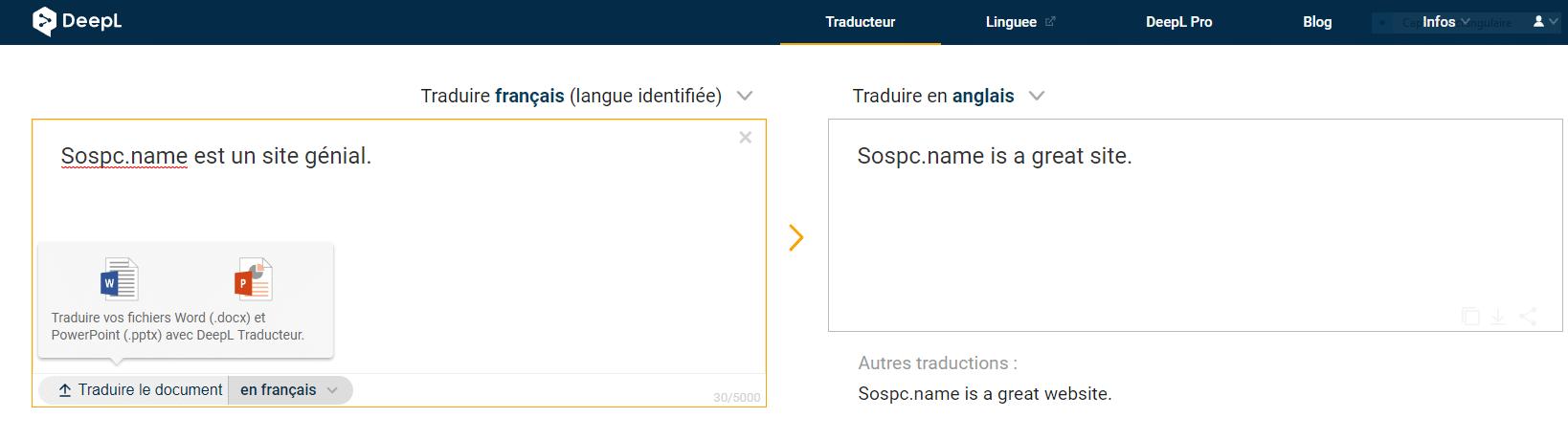 DeepL peut traduire en ligne des documents Word ( .docx ) et Powerpoint ( .pptx )