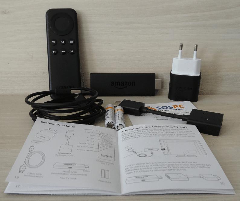 Fire TV Stick d'Amazon détail contenu boite