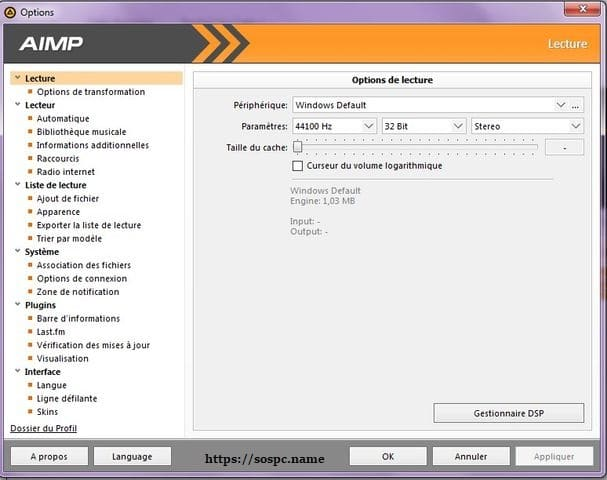 AIMPlecteur audio tutoriel sospc.name e