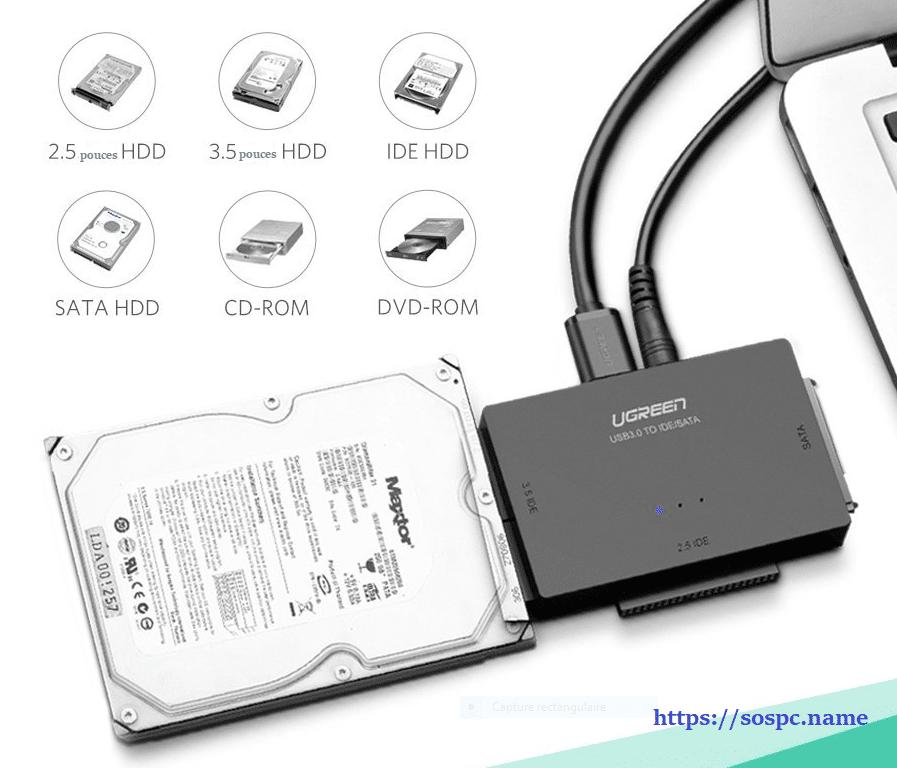 Adaptateur USB 3.0 vers Disque Dur IDE / SATA en test