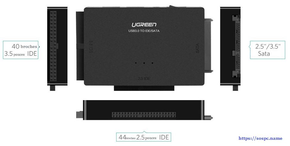 Adaptateur USB 3.0 vers Disque Dur IDE / SATA www.sospc.name