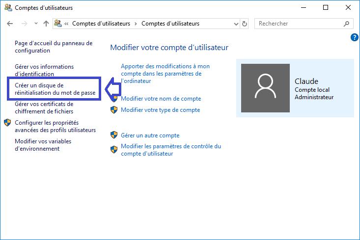 créer une Clé USB de réinitialisation du mot de passe sospc.name