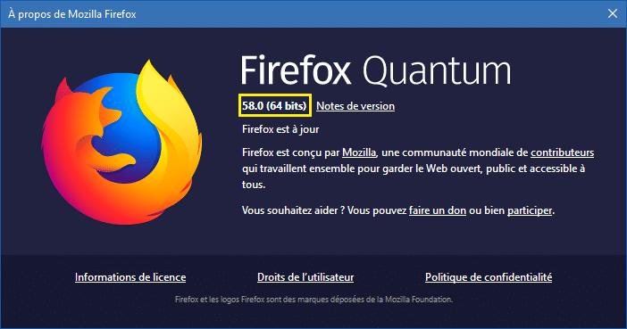 Firefox 58 téléchargement et test