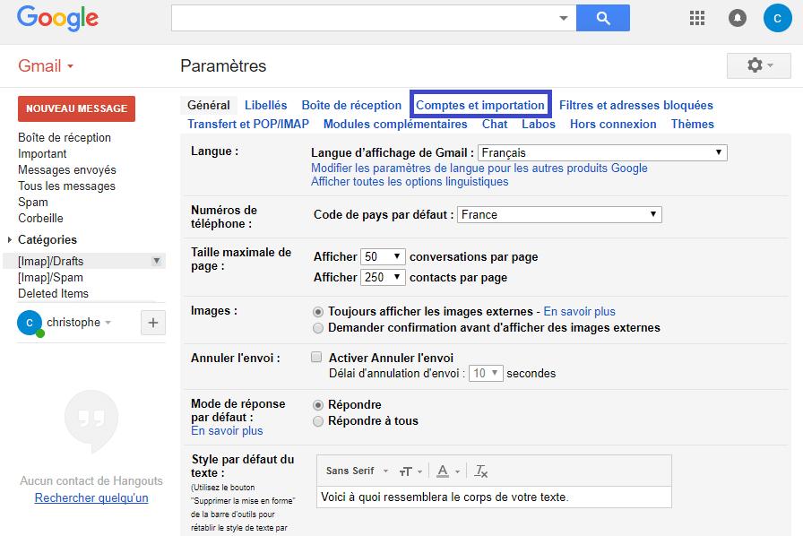 Gmail modifier le nom utilisateur sospc.name