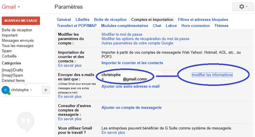 Gmail modifier le nom utilisateur sospc.name tutoriel