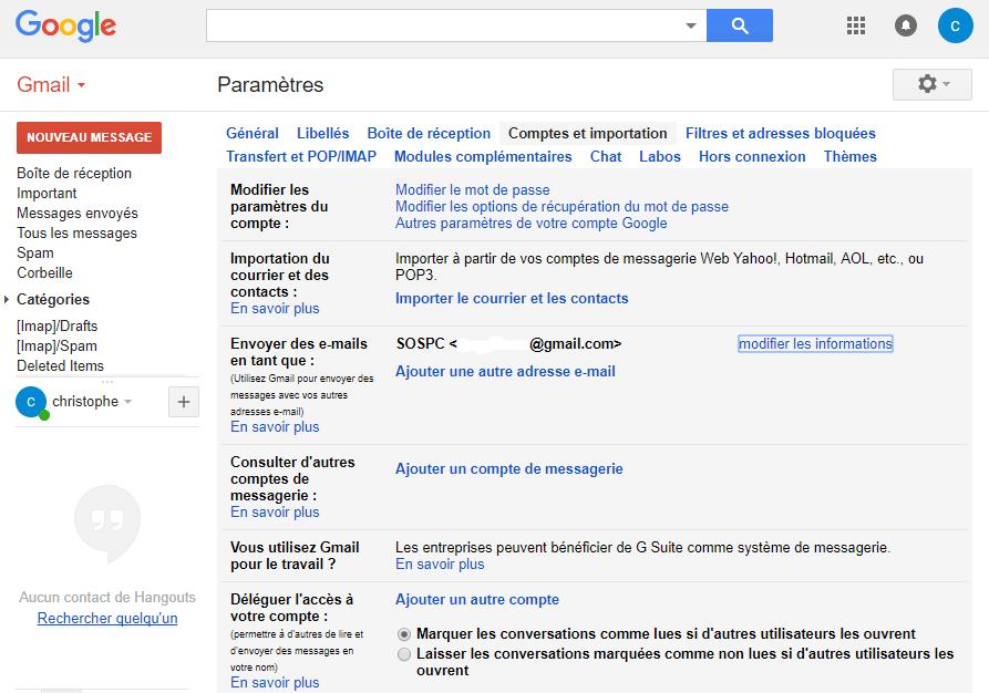 Gmail modifier le nom utilisateur sospc.name tutoriel complet