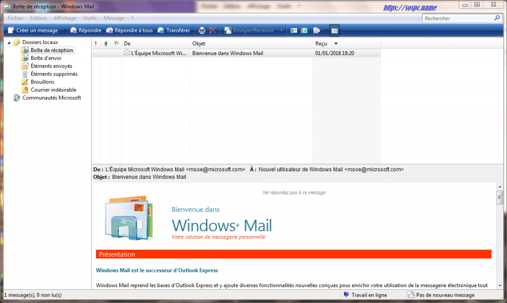 Installer Windows Mail tutoriel complet. sospc.name capture 9
